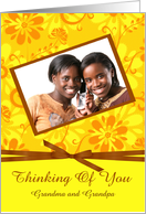 Thinking Of You Photo Card, Yellow and gold flower paper with bow card