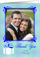 Thank You For The Wedding Gift Photo Card, blue frame with doves card