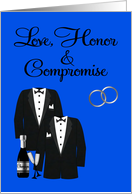 Wedding Invitation, Gay, Commitment Ceremony, general, tuxedos, blue card