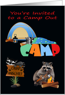 Invitations, Camp Out, general, Raccoons camping under night sky card