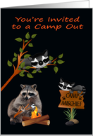 Invitations, Camp Out, general, Raccoon toasting a marshmallow card