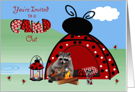 Invitations, Camp Out, general, Raccoon toasting a marshmallow, tent card