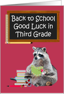 Back To School, Third Grade, Raccoon Holding A Book card
