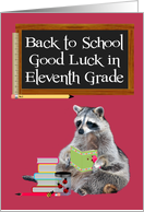 Back To School, Eleventh Grade, Raccoon Holding A Book card
