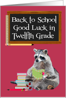Back To School, Twelfth Grade, Raccoon Holding A Book card