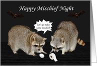 Mischief Night, general, October 30, Raccoons with egg, toilet paper card