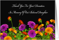 Thank You For Memorial Donation For Our Daughter card