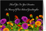 Thank You For Memorial Donation For Our Granddaughter card