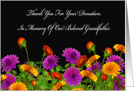 Thank You For Memorial Donation For Our Grandfather card