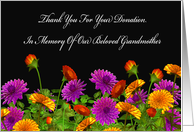 Thank You For Memorial Donation For Our Grandmother card