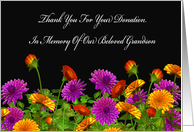 Thank You For Memorial Donation For Our Grandson card