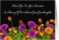Thank You For Memorial Donation For Our Great Granddaughter card