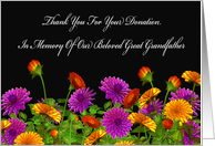 Thank You For Memorial Donation For Our Great Grandfather card