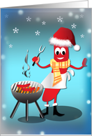 Christmas Humor - Hotdog Barbeque card