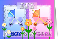 It's A Boy and A Girl - Blue and Pink Strollers card