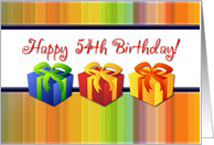 Happy 54th Birthday - Colorful Gifts card