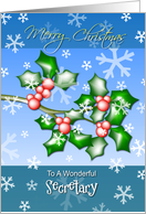 Merry Christmas Secretary - Holly Berries and Snowflakes card