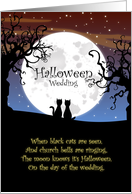 Congrats on Your Halloween Wedding - Cats, Moon and Dead Trees card