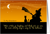 To My Grandson on Halloween - Witch and Black Cat card