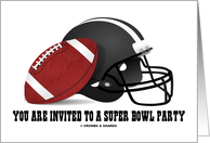 You Are Invited To A Super Bowl Party (Football & Football Helmet) card