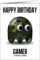Happy Birthday Gamer (Military Ghose Camouflage Game Baddie) card
