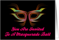 You Are Invited To A Masquerade Ball Colorful Party Mask Mardi Gras card