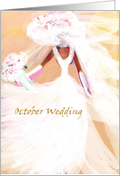 Wedding in October wedding Invitation, bride in white card