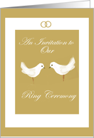 white doves ring ceremony invitation card