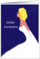 starry night Debut Invitation, girl in white gown card