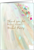 Thank you bridal party, pastel flowing fabric card