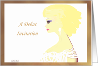 Debut Invitation, profile face, elegant young woman card