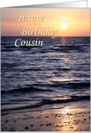 Sunset over Gulf ~ Happy Birthday Cousin card