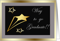 Way to go graduate, gold stars on black card