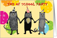 Invitation to end of school party,cats.humor,balloons. PARTY HATS card