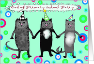 Invitation to End of Primary School party, three crazy cats card