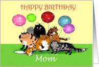 Happy Birthday Mom, from all of us,Crazy cats and balloons. card