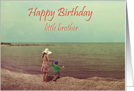 Happy Birthday, little brother,children by the lake,old vintage photo card