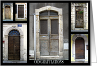 Congratulations, high school graduation, old french doors. card