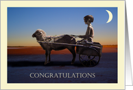 Congratulations on passing your driving test, Little girl and cart drawn by sheep. card