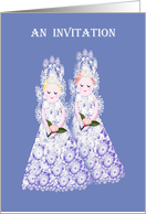 Invitation to a ring ceremony, lesbian, two lacy brides card