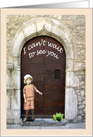 I can't wait to see you, little girl and frog in doorway. card