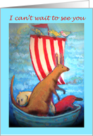 I can't wait to see you, kangaroo, wambat,platypus in boat. card
