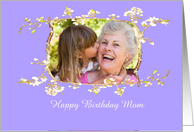Happy Birthday Mom, blossom frame, blue, photo frame. card