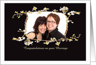 Congratulations lesbian marriage, blossom frame, black, photo frame. card