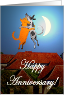 Happy Anniversary, two dogs jumping, humor. card