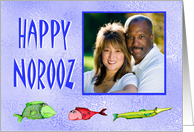 Happy Norooz, custom photo card, with fish, across the miles card