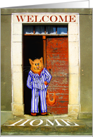 Welcome Home, from pet, ginger cat in striped pyjamas. doorway, humor card