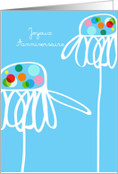 Joyeux anniversaire, whimsical flowers on blue card