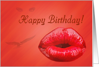 happy birthday day greeting card,sexy lips card
