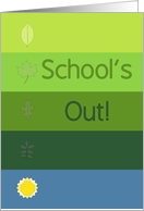End of School Invitation - Green Ombre with Leaves & Sun card